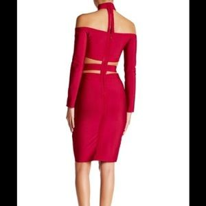 WOW COUTURE mauve cut out bodycon dress s: small